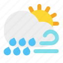 cloud, day, rain, sun, weather, wind icon