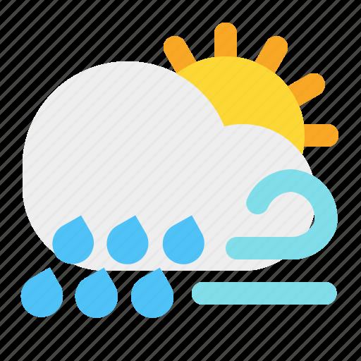 cloud, day, rain, sun, weather, wind icon
