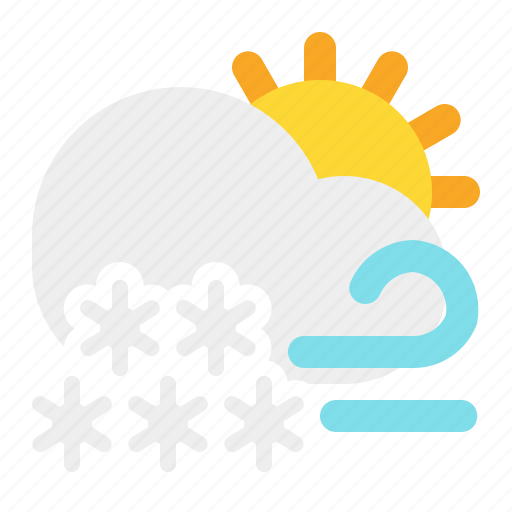 cloud, day, snow, sun, weather, wind icon