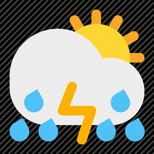 cloud, day, rain, sun, thunder, weather icon