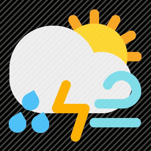 cloud, day, rain, sun, thunder, weather, wind icon