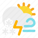cloud, day, snow, sun, thunder, weather, wind icon