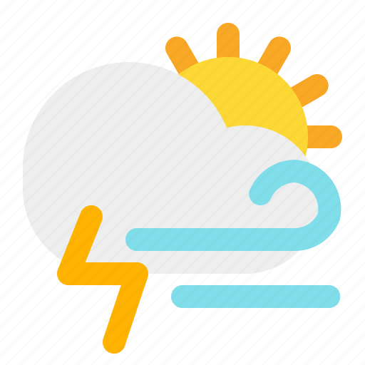 cloud, day, sun, thunder, weather, wind icon
