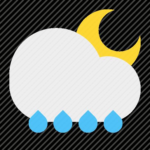 cloud, moon, night, rain, weather icon