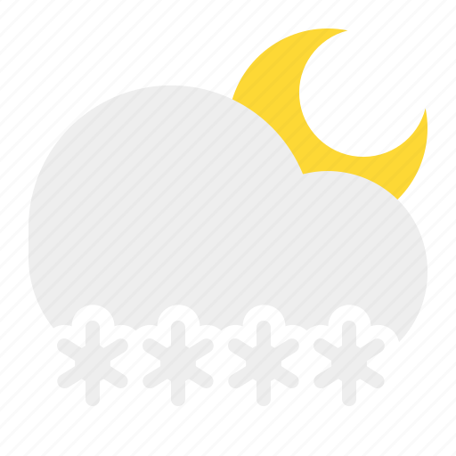 cloud, moon, night, snow, weather icon