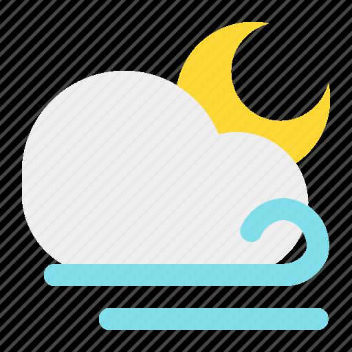 cloud, moon, night, weather, wind icon