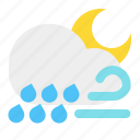 cloud, moon, night, rain, weather, wind icon