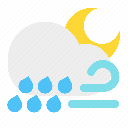 cloud, moon, night, rain, weather, wind icon