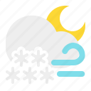 cloud, moon, night, snow, weather, wind icon