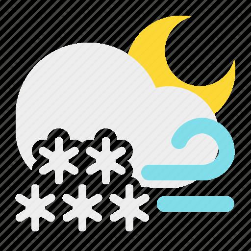 cloud, moon, night, snow, weather, wind icon