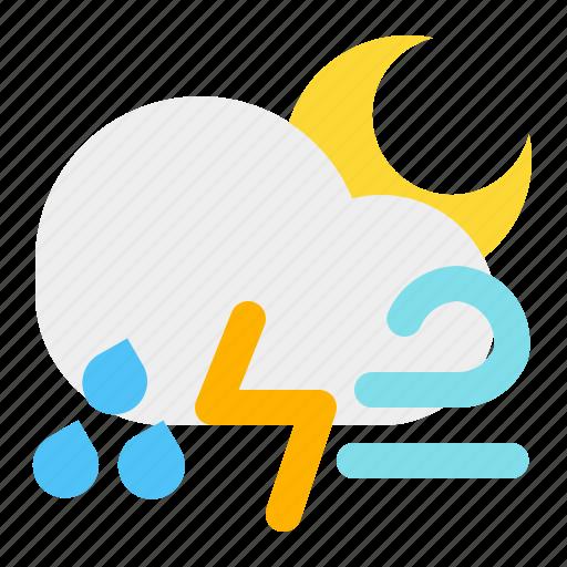 cloud, moon, night, rain, thunder, weather, wind icon