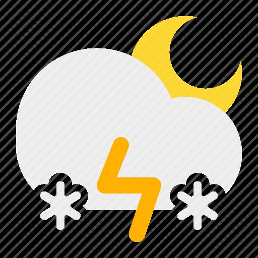 cloud, moon, night, snow, thunder, weather icon