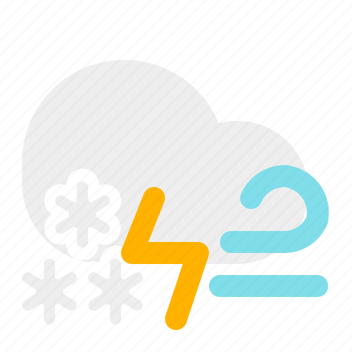 cloud, moon, night, snow, thunder, weather, wind icon