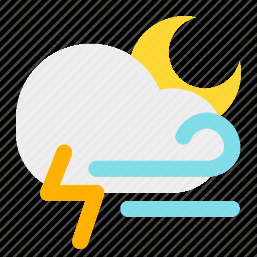 cloud, moon, night, thunder, weather, wind icon