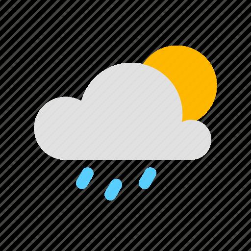 cloud, rain, rain clouded day, sun icon