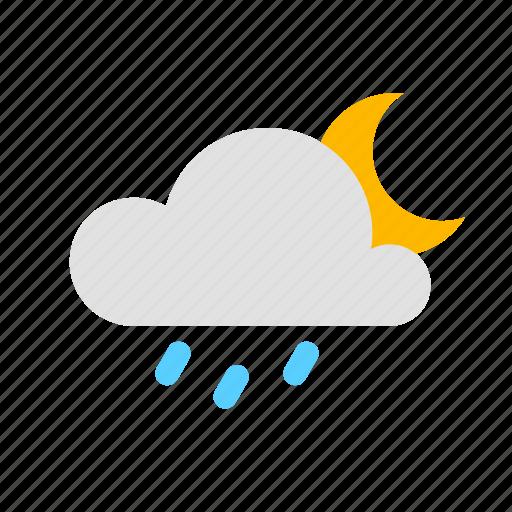cloud, moon, rain, rain clouded night icon