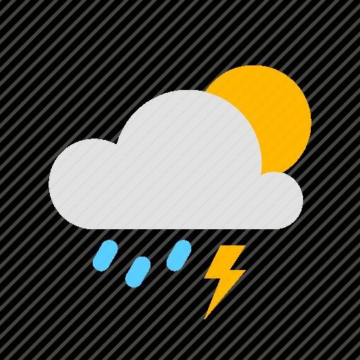 rain, sun, thunder icon