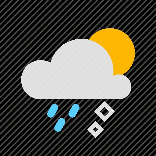 cloud, hail, rain, sun icon