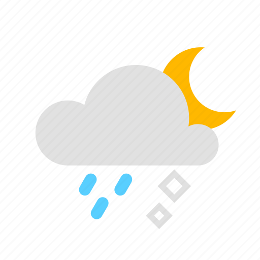 Cloud, hail, moon, rain icon - Download on Iconfinder
