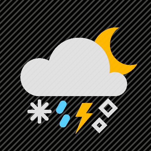 cloud, hail, moon, night, rain, snow, thunder icon