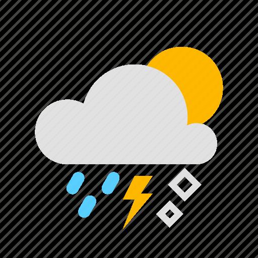 cloud, hail, rain, sun, thunder icon