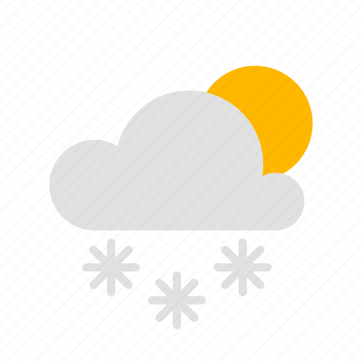 cloud, clouded, cloudy, snow, sun icon