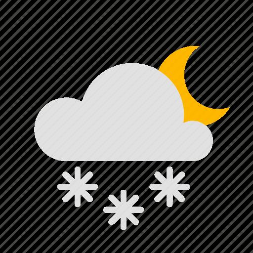 cloud, moon, night, snow icon
