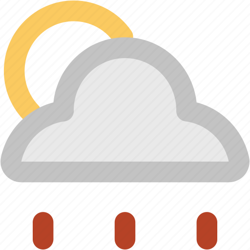 atmosphere, cloud, rain, raindrops, raining, sun, weather icon