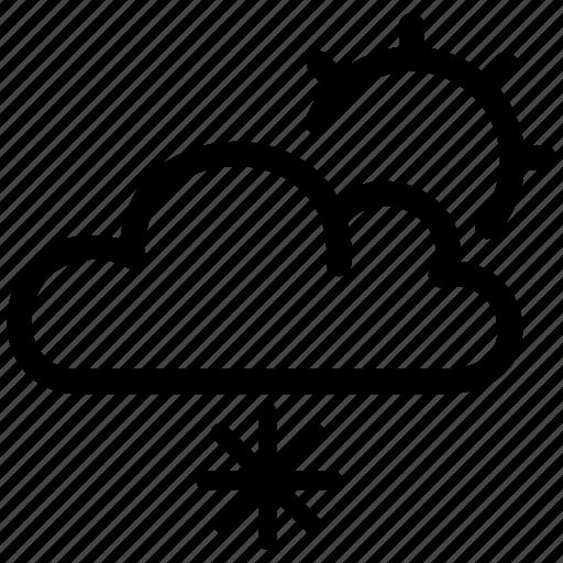 cloud, cloudy, light, snow, snowing, sun, winter icon