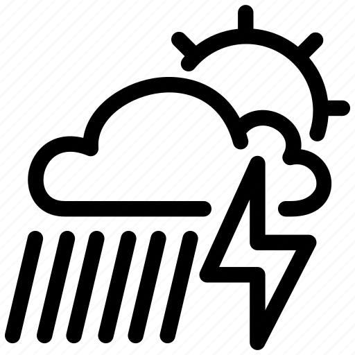 cloudy, considerable, lightning, rain, storm, weather icon