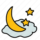 cloud, moon, night, stars, weather icon