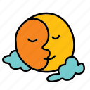cloud, interconnected, moon, sun, weather icon