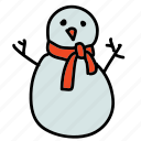 scarf, snow, snowman, weather, winter icon