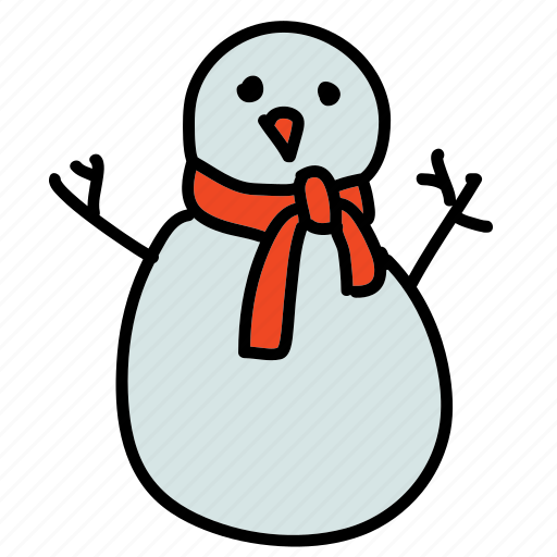 scarf, snow, snowman, weather, winter icon