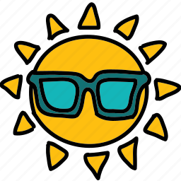 cool, forecast, glasses, sun, weather icon