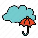 cloud, forecast, rain, umbrella, weather icon
