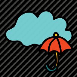cloud, forecast, rain, umbrella, weather icon