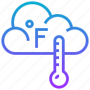 climate, cloud, fahrenheit, season, thermometer, weather icon