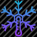 climate, freeze, ice, season, snowflake, thermometer, weather icon