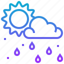 climate, cloud, rain, season, sun, weather icon