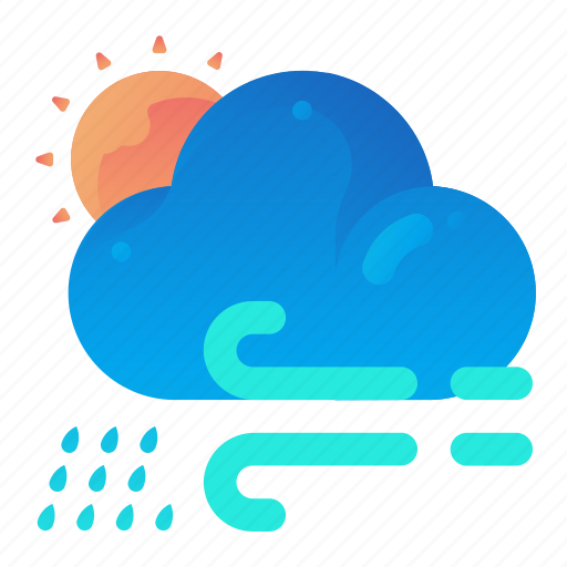 cloud, day, forecast, rain, weather, wind icon