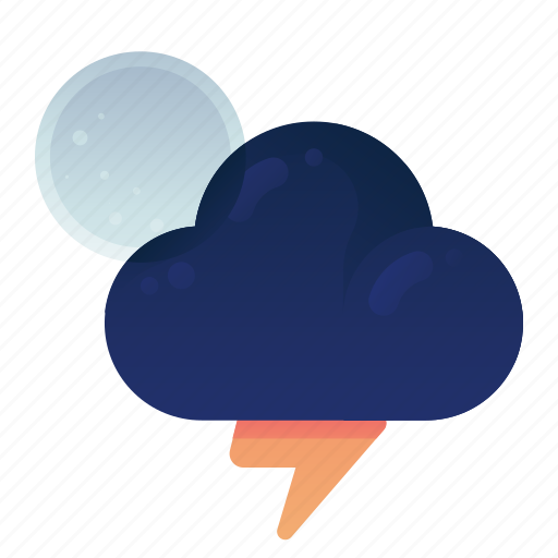 Forecast, moon, night, storm, thunder, weather icon - Download on Iconfinder