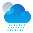cloudy, forecast, night, rain, weather icon