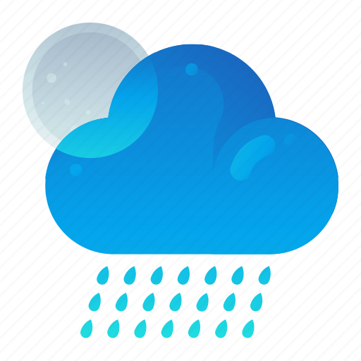 Cloudy, forecast, night, rain, weather icon - Download on Iconfinder