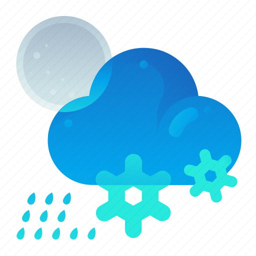 Cloud, forecast, night, rain, snow, weather icon - Download on Iconfinder