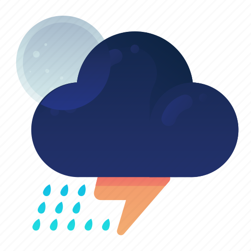 Forecast, night, rain, storm, weather icon - Download on Iconfinder
