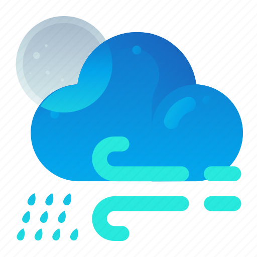 Cloud, forecast, night, rain, weather, wind icon - Download on Iconfinder
