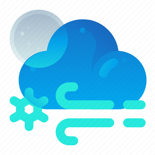 Cloud, forecast, night, snow, weather, wind icon - Download on Iconfinder