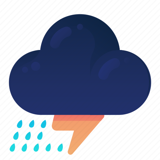 Cloud, forecast, raining, storm, thunder, weather icon - Download on Iconfinder