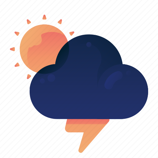 Forecast, storm, sunny, thunder, weather icon - Download on Iconfinder